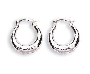 9ct White Gold Hoop Earrings