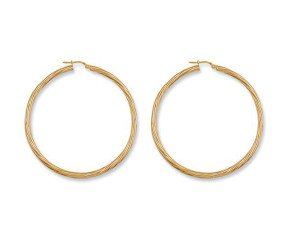 9ct Yellow Gold 55mm Twisted Hoop Earrings