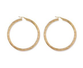 9ct Yellow Gold 58mm Twisted Hoop Earrings