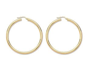9ct Yellow Gold Tube Hoop Earrings