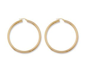 9ct Yellow Gold 46mm Tube Hoop Earrings