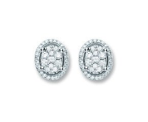 18ct White Gold 0.25ct Diamond Cluster Stud Earrings
