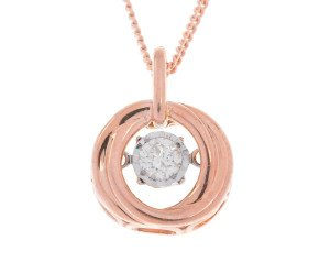 9ct Rose Gold 0.10ct Diamond Solitaire Fancy Pendant