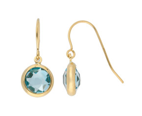 9ct Yellow Gold Topaz Drop Earrings