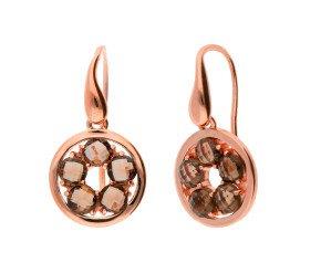 9ct Rose Gold Smoky Quartz Circle Drop Earrings