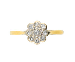 Vintage 18ct Yellow Gold 0.45ct Diamond Cluster Ring