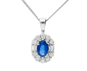 18ct White Gold 0.45ct Sapphire & Diamond Pendant