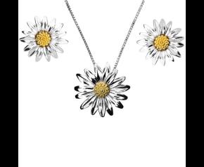 Silver & Yellow Gold Vermeil Daisy Flower Pendant & Earrings Jewellery Set