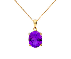9ct Yellow Gold 4.5ct Amethyst Pendant