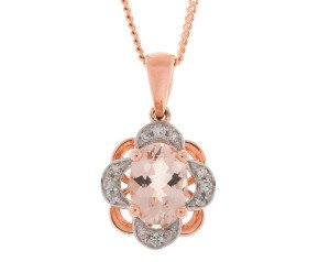 9ct Rose Gold 0.65ct Morganite & Diamond Floral Pendant