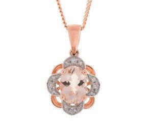 9ct Rose Gold 0.65ct Morganite & Diamond Floral Pendant