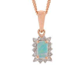9ct Rose Gold 0.15ct Opal & Diamond Pendant