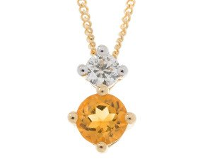 9ct Yellow Gold 0.20ct Citrine & Diamond Pendant