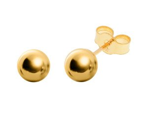 18ct Yellow Gold 6mm Ball Stud Earrings