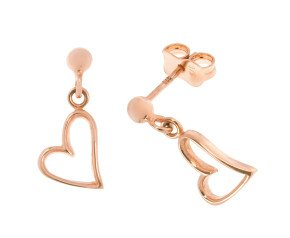 9ct Rose Gold Heart Drop Earrings