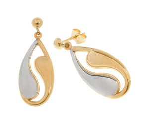 9ct White & Yellow Gold Ying Yang Drop Earrings