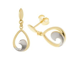 9ct Yellow & White Gold Drop Earrings