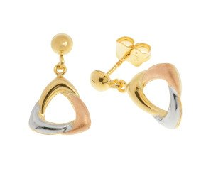 9ct Yellow, White & Rose Gold Drop Earrings