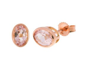 9ct Rose Gold 1.60cts Oval Morganite Solitaire Stud Earrings