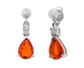 9ct Yellow Gold 0.70ct Fire Opal & Diamond Drop Earrings