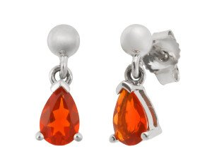 9ct White Gold 0.44ct Fire Opal Drop Earrings