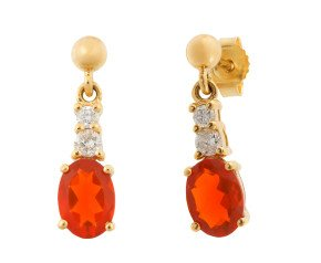 9ct Yellow Gold 0.90ct Fire Opal & 0.15ct Diamond Drop Earrings