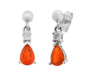 9ct White Gold 0.44ct Fire Opal & Diamond Drop Earrings