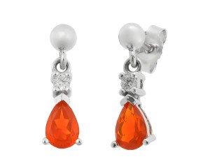 9ct White Gold 0.44ct Fire Opal & Diamond Drop Earrings