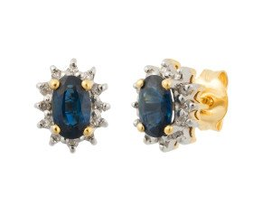 9ct Yellow Gold 0.70ct Sapphire & 0.10ct Diamond Cluster Stud Earrings