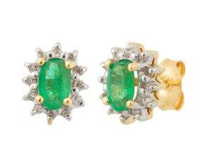 9ct Yellow Gold 0.50ct Emerald & Diamond Cluster Stud Earrings