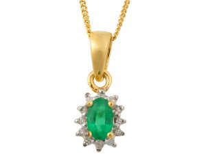 9ct Yellow Gold 0.25ct Emerald & Diamond Cluster Pendant