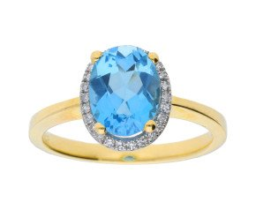 9ct Yellow Gold 2.50ct Topaz & 0.10ct Diamond Cluster Ring