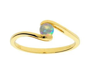 9ct Yellow Gold 0.15ct Opal Solitaire Fancy Ring