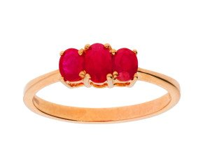 9ct Rose Gold 0.50ct Ruby Trilogy Ring