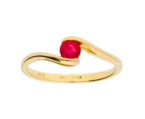 9ct Yellow Gold 0.35ct Round Ruby Fancy Solitaire Ring