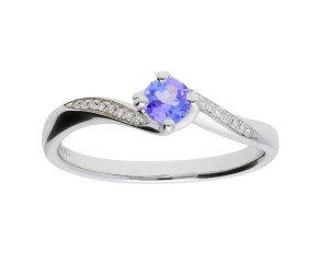 18ct White Gold 0.25ct Tanzanite & Diamond Crossover Ring
