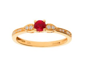 18ct Yellow Gold 0.35ct Ruby & 0.07 Diamond Dress Ring