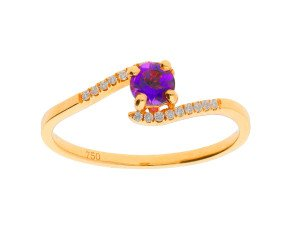 18ct Yellow Gold 0.25ct Amethyst & Diamond Crossover Ring