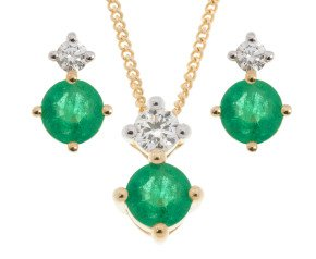 9ct Yellow Gold 0.45ct Emerald & Diamond Pendant & Earrings Jewellery Set