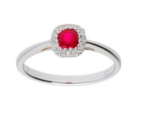 18ct White Gold 0.40ct Ruby & Diamond Cluster Ring