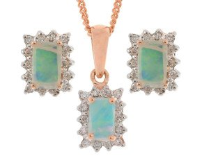 9ct Rose Gold 0.45ct Opal & 0.20ct Diamond Cluster Pendant & Earrings Jewellery Set