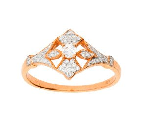 18ct Rose Gold 0.20ct Diamond Fleur De Lis Dress Ring