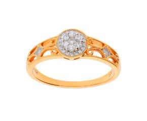 18ct Rose Gold 0.15ct Diamond Cluster Ring