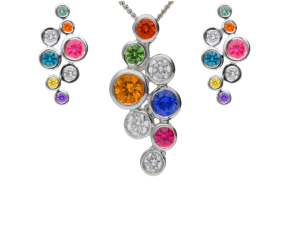 18ct White Gold 0.93ct Rainbow Sapphire & 0.30ct Diamond Fancy Bubble Earrings & Pendant