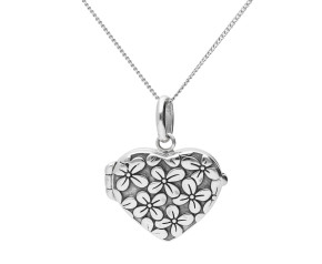 Sterling Silver Flower Embossed Heart Locket