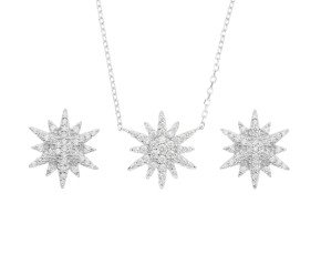 Sterling Silver Starbust Earrings & Pendant Set