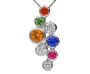 18ct White Gold 0.40ct Sapphire & 0.15ct Diamond Fancy Bubble Pendant