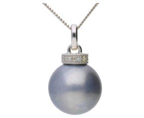 9ct White Gold Grey Cultured Pearl & Diamond Pendant