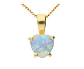 9ct Yellow Gold Opal Heart Solitaire Pendant