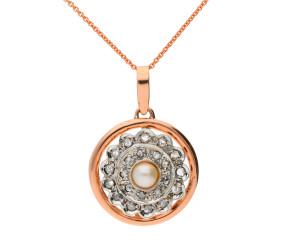 Handcrafted Italian 0.30ct Diamond  & Pearl Cluster Pendant